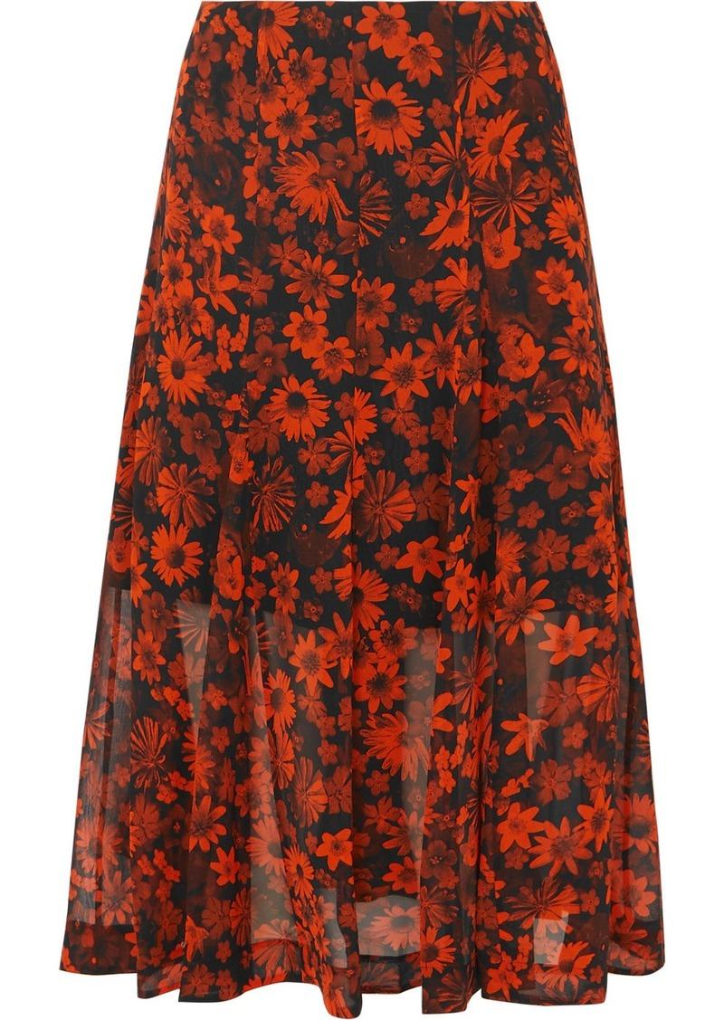 McQ Alexander McQueen Pleated Floral-print Silk-chiffon Midi Skirt