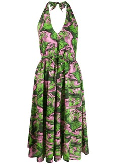 McQ Alexander McQueen printed halterneck dress