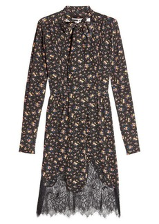 McQ Alexander McQueen Printed Silk Dress with Lace