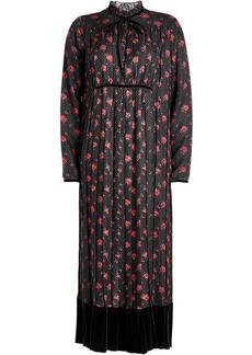 McQ Alexander McQueen Printed Silk Dress with Velvet