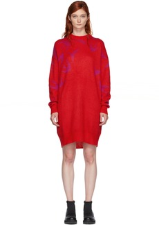 McQ Alexander McQueen Red & Pink Swallow Swarm Dress