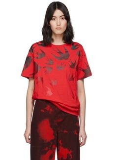 McQ Alexander McQueen Red Swallow Boyfriend T-Shirt
