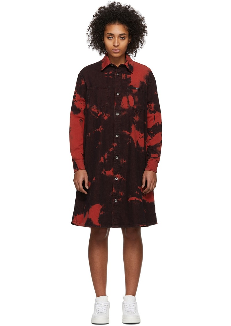 McQ Alexander McQueen Red Tatsuko Tie-Dye Shirt Dress