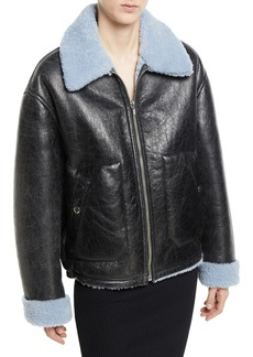 McQ Alexander McQueen Reversible Leather Shearling Aviator Jacket