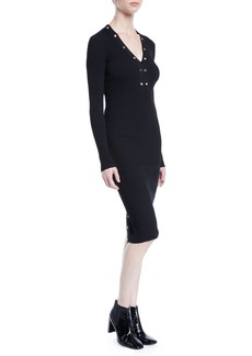 McQ Alexander McQueen Ribbed Lace-Up Long-Sleeve Dress with Grommet Trim