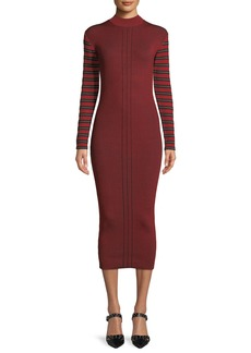 McQ Alexander McQueen Ribbed Striped Long-Sleeve Midi Dress