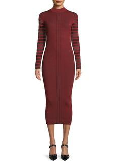 McQ Alexander McQueen Ribbed Striped Long-Sleeve Midi Dress