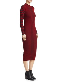 McQ Alexander McQueen Ribbed Striped Pencil Dress