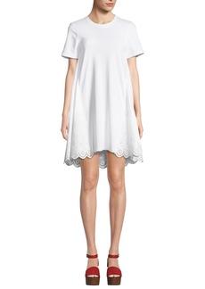 McQ Alexander McQueen Ruffle Hybrid Eyelet Tee Dress
