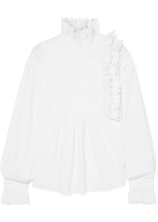 McQ Alexander McQueen Ruffled Broderie Anglaise Cotton Blouse
