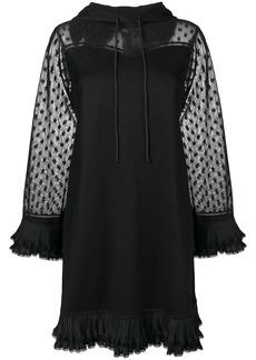 McQ Alexander McQueen sheer panel hooded dress
