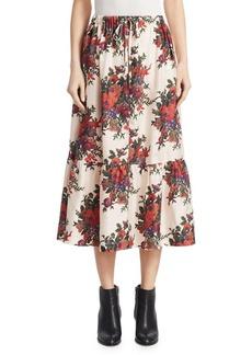 McQ Alexander McQueen Silk Crepe Floral Ruffled Midi Skirt