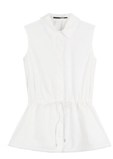 McQ Alexander McQueen Sleeveless Cotton Top with Drawstring Waist