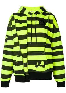 McQ Alexander McQueen striped deconstructed panel hoodie