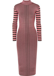 McQ Alexander McQueen Striped Ribbed-knit Turtleneck Dress