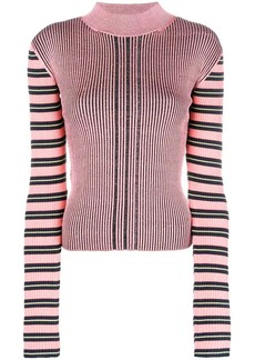 McQ Alexander McQueen striped sleeve ribbed knit top