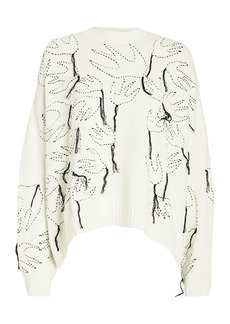 McQ Alexander McQueen Swallow Embroidered Crew Neck Sweater