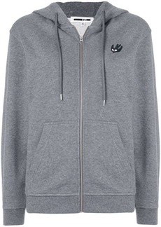 McQ Alexander McQueen Swallow patch front zipped hoodie