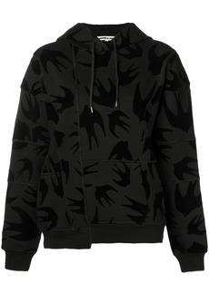 McQ Alexander McQueen swallow print asymmetric hoodie