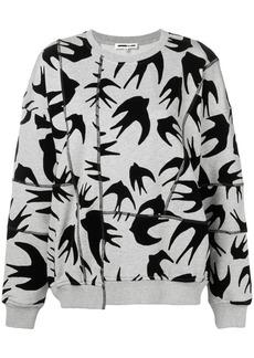 McQ Alexander McQueen swallow print asymmetric sweatshirt