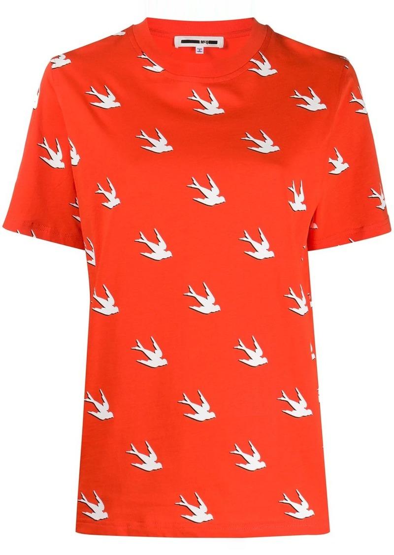 McQ Alexander McQueen swallow-print crew-neck T-shirt