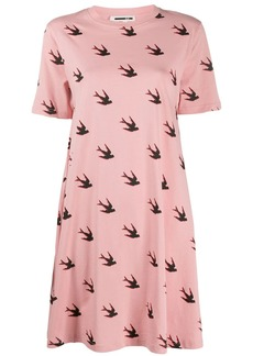McQ Alexander McQueen swallow print flared T-shirt dress