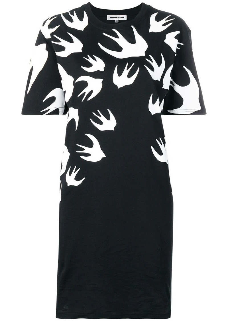 McQ Alexander McQueen swallow print T-shirt dress