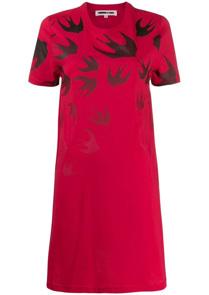 McQ Alexander McQueen Swallow Swarm-print T-shirt dress