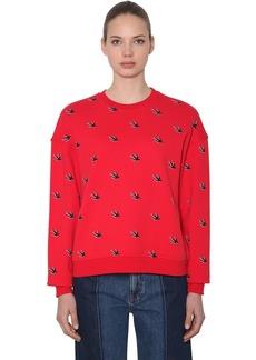McQ Alexander McQueen Swallows Flocked Cotton Sweatshirt
