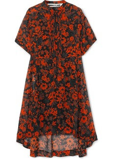 McQ Alexander McQueen Tie-detailed Pintucked Floral-print Silk-chiffon Dress