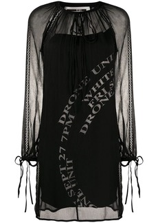 McQ Alexander McQueen tie-neck crinkle chiffon shift dress