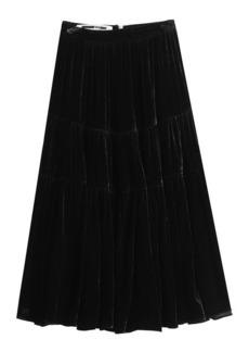 McQ Alexander McQueen Velvet Midi Skirt with Silk