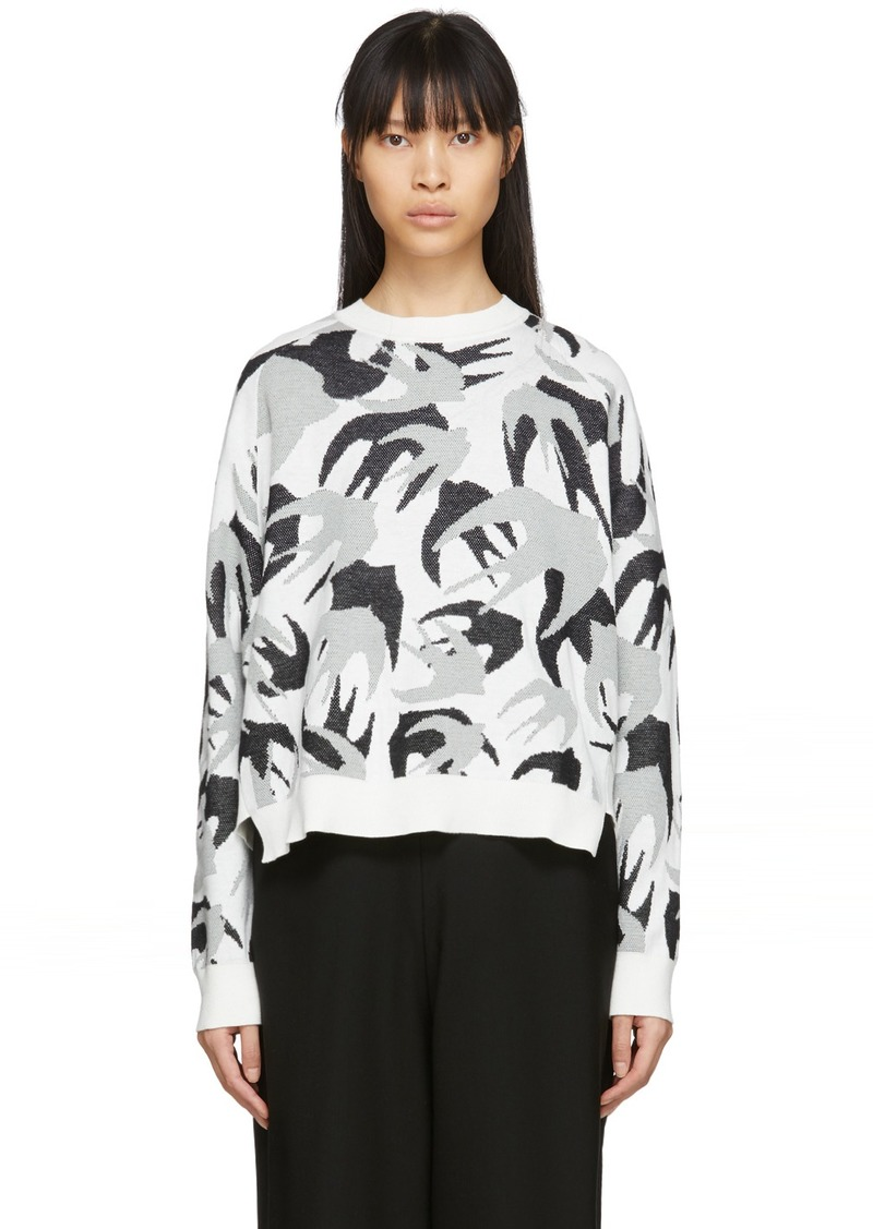 McQ Alexander McQueen White Camo Swallows Sweater