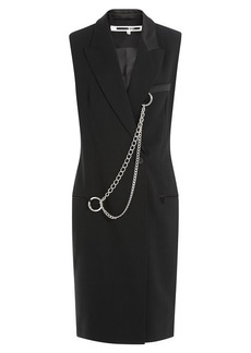 McQ Alexander McQueen Wool Dress with Chain Detail