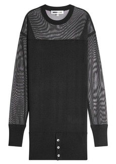 McQ Alexander McQueen Wool Dress with Mesh Sleeves