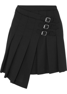 McQ Alexander McQueen Wrap-effect Pleated Wool-twill Mini Skirt
