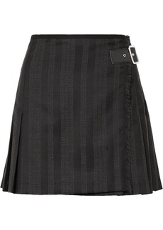 McQ Alexander McQueen Wrap-effect Striped Wool-blend Jacquard Mini Skirt