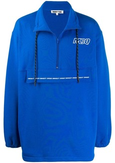 McQ logo oversized half-zip sweatshirt