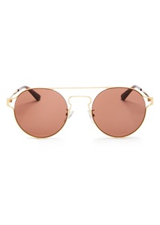 McQ Alexander McQueen Unisex Brow Bar Round Sunglasses, 54mm