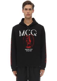 McQ Printed Cotton Sweatshirt Hoodie