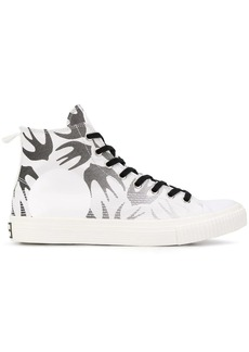 McQ swallow print hi-top sneakers