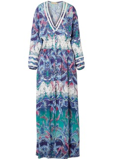 Melissa Odabash Caroline smocked printed voile maxi dress