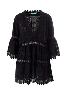 Melissa Odabash Victoria Embroidered Georgette Bell-Sleeve Beach Dress