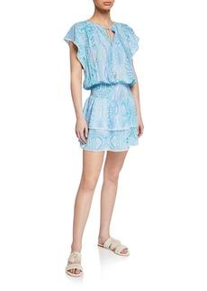 Melissa Odabash Keri Paisley Ruffle Tiered Coverup Dress