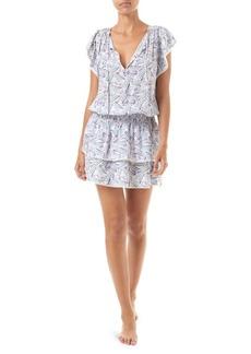 Melissa Odabash Keri Print Drawstring A-Line Mini Dress