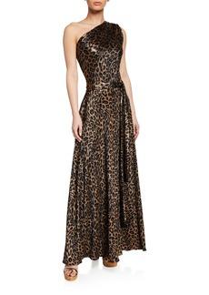 Melissa Odabash Leopard-Print Metallic One-Shoulder Maxi Dress