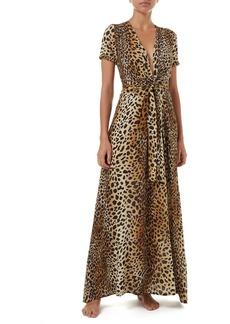 Melissa Odabash Lou Cheetah-Print Belted Short-Sleeve Maxi Dress