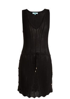 Melissa Odabash Arianna deep V-neck pointelle-knit dress