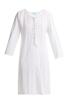 Melissa Odabash Bella lace-up broderie-anglaise dress