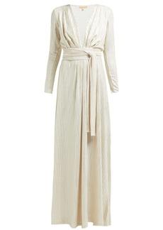Melissa Odabash Look 11 tie-waist lamé dress